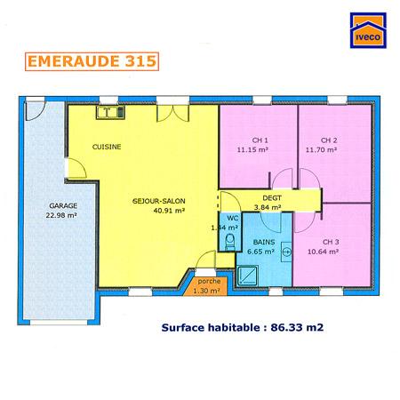 plans de construction sur l'immobilier en neuf maison pavillon - Plans De Maison Plain Pied 3 Chambres